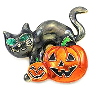 Soulbreezecollection Halloween Party Event Black Cat Kitten Jack O Lantern Pumpkin Brooch Pin Costume