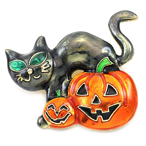 Soulbreezecollection Happy Halloween Party Event Black Cat Kitty Kitten Jack O Lantern Pumpkin Brooch Pin Costume Charm
