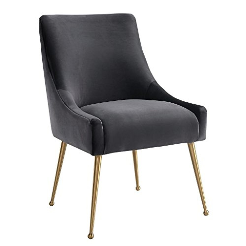 Tov Furniture The Beatrix Collection Modern Style Living Room Velvet Upholstered Side Chair, Grey by Tov Furniture