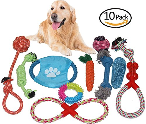 Aopet Dogs Rope Chew Toys Gift Set 10 Pcs Value Pack Durable Dog Teething Training Frisbee Toys Variety Tough Pet Bite-Resistant Toys Aggressive Chewers for Small Doggie to Medium Sized Dogs