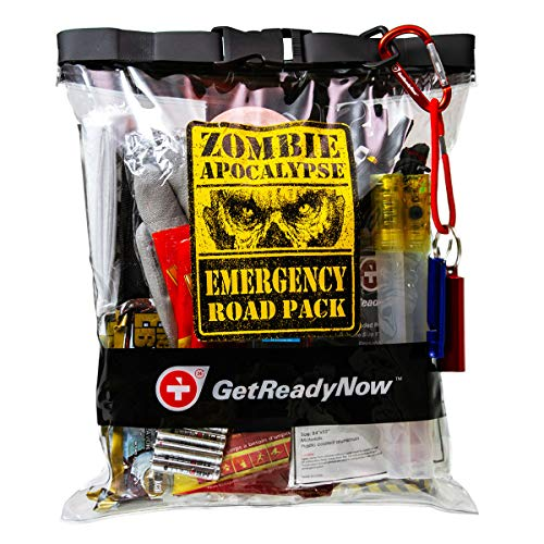 GETREADYNOW Zombie Apocalypse Emergency Road Kit | Natural Disaster Survival Supplies | Compact, Convenient Design | Waterproof Dry Bag with Light, First Aid, Emergency Essentials (Zombie Kit)