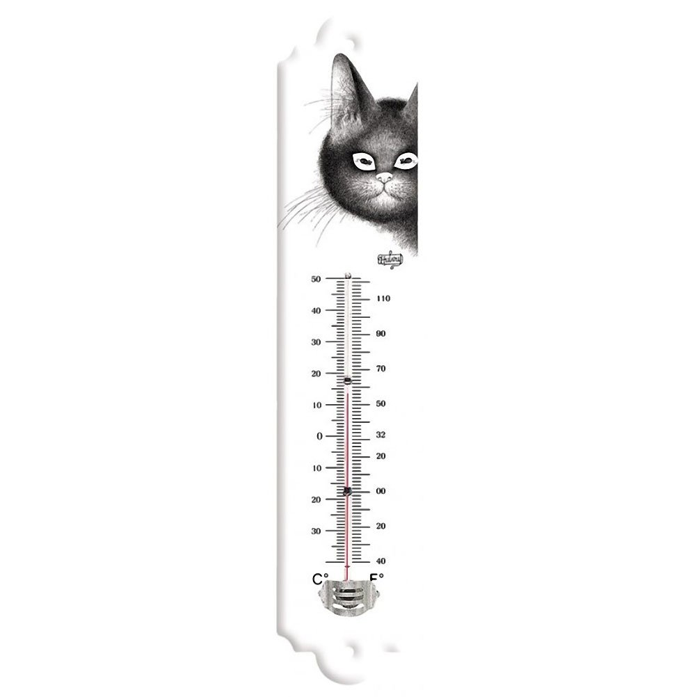 THERMOMETRE METAL EMAILLE DUBOUT CHAT LES YEUX DOUX