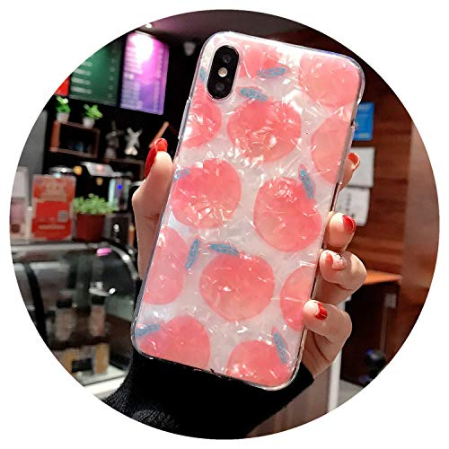 Fashion Lovely Pink Peach Shell Pattern Phone case for iPhone 6 7 8 x xs max case Summer Watermelon case for iPhone 8 case,2,for iPhone XR