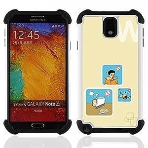 """SAMSUNG Galaxy Note 3 III / N9000 / N9005 - 3 en 1 impreso colorido de Altas Prestaciones PC Funda chaqueta Negro cubierta gel silicona suave (Pan Cocinar Peligro Arte"""")"""