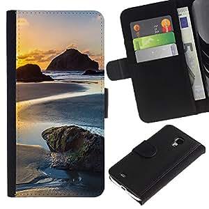 KLONGSHOP // Tirón de la caja Cartera de cuero con ranuras para tarjetas - Sunset Beach - Samsung Galaxy S4 Mini i9190 //