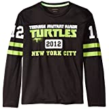 T-Shirtnage Mutant Ninja Turtles Big Boys' Turtles Flatback Mesh Football Long Sleeve T-Shirt, Black/Green, X-Large/18/20