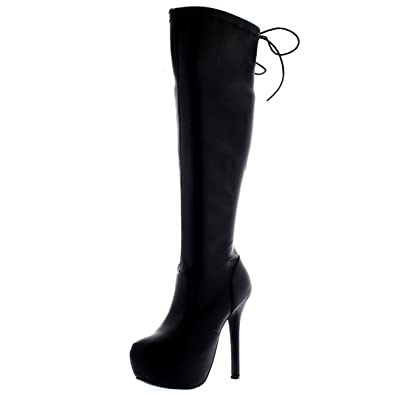5f70809e0 Womens Platform Riding Thigh High Wide Fit Long Stretch Stiletto Boots - Black  PU - US9