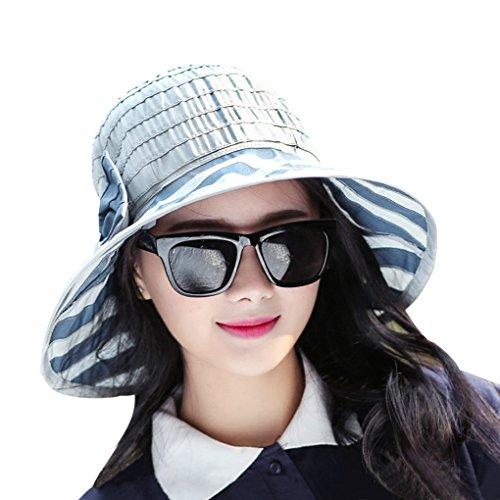 Fashion Women's Girls Striped Floppy Sun Hat, Large Wide Quick Drying Anti-UV Summer Beach Flap Cap Sunhat Roll-up Travel Bucket Hat Outdoor Sun protection Golf Fishing Sun Visor Fisherman Bonnie Hat