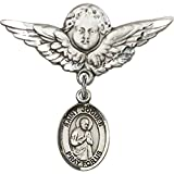 Sterling Silver Baby Badge with St. Isaac Jogues Charm and Angel w/Wings Badge Pin 1 1/8 X 1 1/8 inches