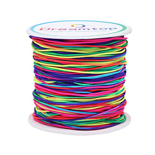 Dreamtop 100m Rainbow Color Elastic Cord Beading Thread Stretch String Craft Cord, 1mm
