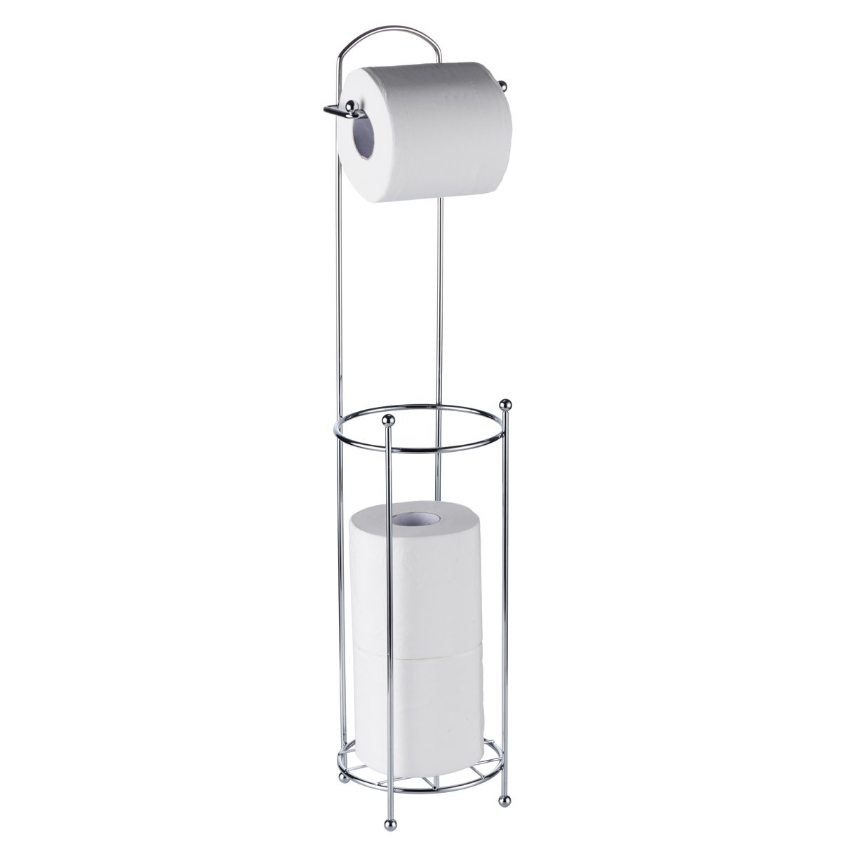 Stainless Steel Chrome Plated Free Standing Toilet Paper Roll Holder Wire Frame Bathroom Tissue Holder Shelf 3 Roll Storage Denny International