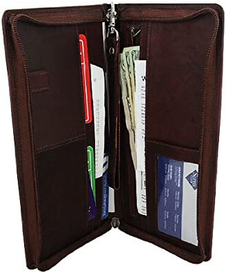 Marshal Solid Leather Passport Cover Credit Card Holder Travel Zipper Organizer