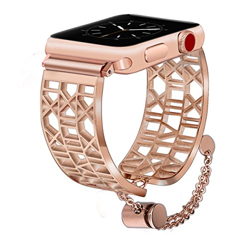 (CAGOS Compatible Apple Watch Band 42mm 44mm Women Men, Stainless Steel Bracelet Bangle Replacement Wristband for Apple Watch Series 4,Series 3,Series 2,Series 1(Arabic Numerals-Copper, 42mm))