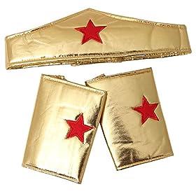 - 51X6Q 5fSML - Making Believe Girls Gold Wonderful Superhero Costume Cuffs and Headband Set