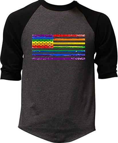 Interstate Apparel Men's Rainbow Gay Flag Charcoal Raglan Baseball T-Shirt Large (Raglan Gay Rainbow Flag)