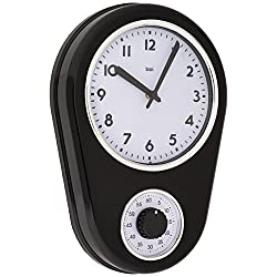 BAI Retro Kitchen Timer Wall Clock, Black