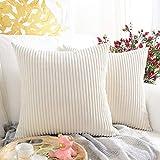 MERNETTE Pack of 2, Corduroy Velvet Soft Decorative Throw Pillow Cover Cushion Covers, Pillowcase Pillow Shams, for Sofa Bedroom Car Chair 18x18 Inch/45x45 cm (Striped White)