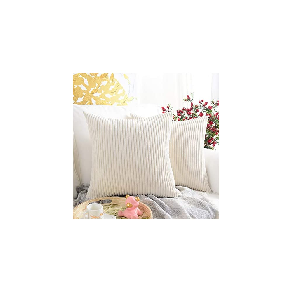 MERNETTE Pack of 2, Corduroy Soft Decorative Square Throw Pillow Cover Cushion Covers Pillowcase, Home Decor Decorations…