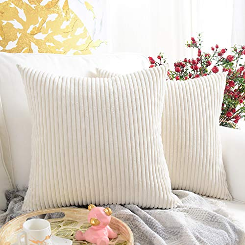 MERNETTE Pack of 2, Corduroy Soft Decorative Square Throw Pillow Cover Cushion Covers Pillowcase, Home Decor Decorations for Sofa Couch Bed Chair 18x18 Inch/45x45 cm (Striped Cream) (Pillows Decor)