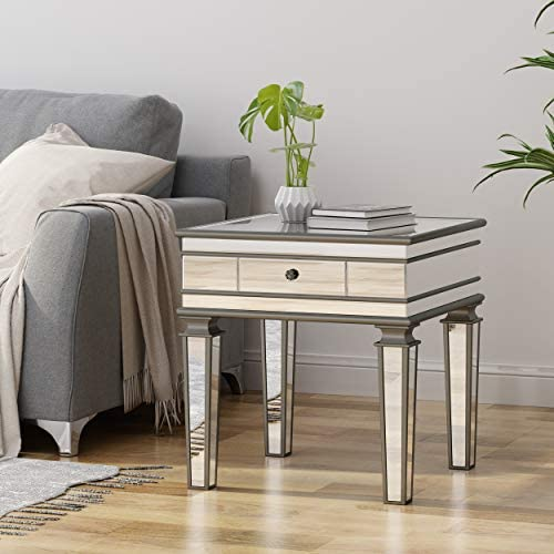 Christopher Knight Home Annabelle Modern Mirrored Accent Table with Drawer, Tempered Glass, Black Firwood Frame