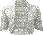 REAL LIFE FASHION LTD Ladies Crochet Open Front Bolero Shrug Women Knitted Cardigan Fancy Crop Top