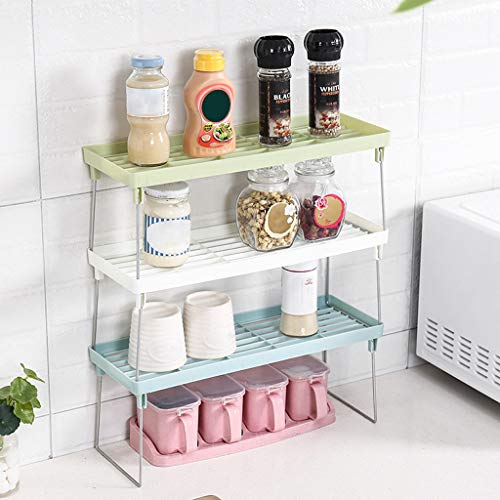 Gotian Standing Rack Kitchen Bathroom Counter top Storage Organizer Shelf Holder Rack - Durable and Stable, Saving Space and Keep Neat.(Dimensions: 40 x 14 x 14.5cm) (blue)