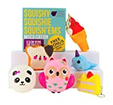 Toys : Slow Rising Jumbo MIXED SQUISHIES PACK in a GIFT BOX: Ice Cream, Panda Bun, Cake, Toast, Whale and Owl Kawaii Soft Squeeze Squishy Toys or Stress Balls PLUS BONUS Stickers Come With the Squishys!