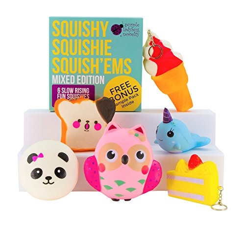 Slow Rising Jumbo MIXED SQUISHIES PACK in a GIFT BOX: Ice Cream, Panda Bun, Cake, Toast, Whale and Owl Kawaii Soft Squeeze Squishy Toys or Stress Balls PLUS BONUS Stickers Come With the Squishys!