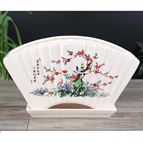 Ceramic White Home Garden Chinese Characteristic Fan