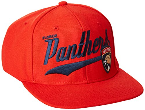 fan products of NHL Florida Panthers Men's SP17 Tail Sweep Flat Brim Snapback Hat, Red, One Size