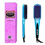 ACEVIVI 2 in 1 Ionic Hair Straightening Brush, Ceramic Heating Straightening Irons Brush with MCH heating technology and Auto Temperature Lock, Anti-scald Patented Design Blue
