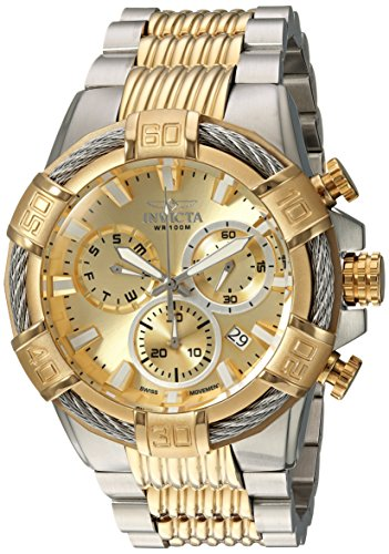 Invicta Men's Bolt Quartz Watch with Two-Tone-Stainless-Steel Strap, 16 (Model: 25864) (Invicta Mens Watches Bolt)