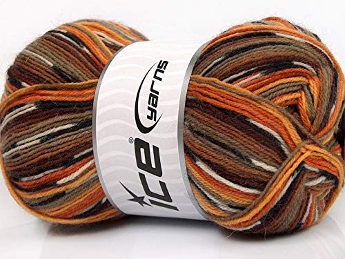 ((1) 100 Gram Super Sock, Oranges, Browns, Black, White + Self-Patterning Superwash Wool Sock Yarn)
