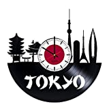 "modern bedroom ideas BorschToday Japan Tokyo Design Vinyl Record Wall Clock - Get unique kitchen or bedroom wall decor - Gift ideas for his and her ??"" Cities Skylines Unique Modern Art"