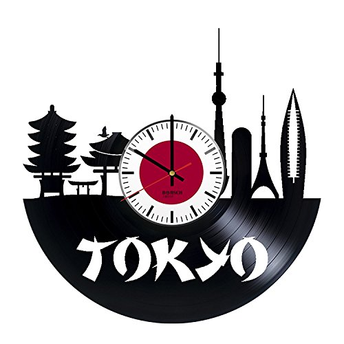 "BorschToday Japan Tokyo Design Vinyl Record Wall Clock - Get unique kitchen or bedroom wall decor - Gift ideas for his and her ??"" Cities Skylines Unique Modern Art"
