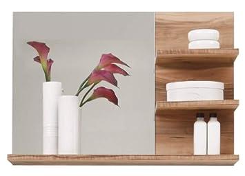 trendteam Espejo de baño para pared Cancun Boom, 72 x 57 x 20 cm en acabado nogal satinado con tres repisas