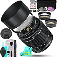 Canon EF-S 18-55mm f/3.5-5.6 IS II SLR THREE LENS BUNDLE w/ 16GB Memory Card, 3-pc Filter Kit & Prime Seller Lens/Camera Cleaning Cloth + MORE!