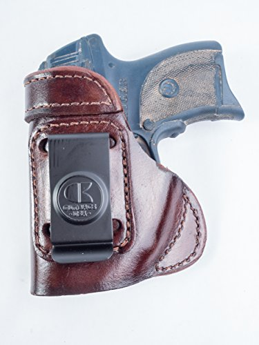 OutBags USA LS3LC9X (BROWN-LEFT) Full Grain Heavy Leather IWB Conceal Carry Gun Holster for Ruger LC9 with Crimson Trace Laser. Handcrafted in USA.