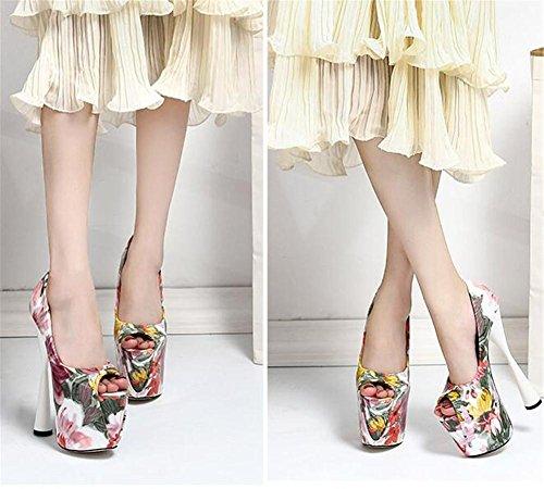 à Fête Talon Plate forme PINK haut xie 41 et soirée Chaussures Open femmes bloc club Pompes Impression Des pour EU39 Taille sandales Toe 35 wORIqz