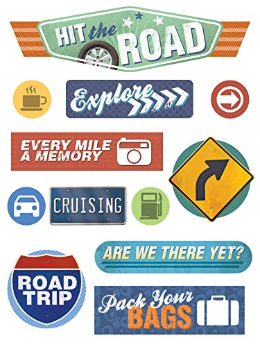Paper House Productions STCP-0002E Travel Chipboard Epoxy Sticker Road Trip (3-Pack)
