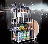 Hyun times 304 Stainless Steel Kitchen Shelves Floor 3 Layer Seasoning Storage Racks Storage Rack Kitchen Pendant
