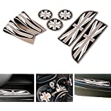 iJDMTOY 7pc Soft Silicone Black/Grey Union Jack Style Cup Holder Coasters, Side Door Compartment Mats For MINI Cooper R55 R56 R57 R58 R59