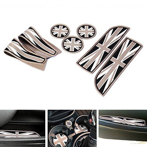 ijdmtoy-7pc-soft-silicone-black-grey-union-jack-style-cup-holder-coasters-side-door-compartment-mats