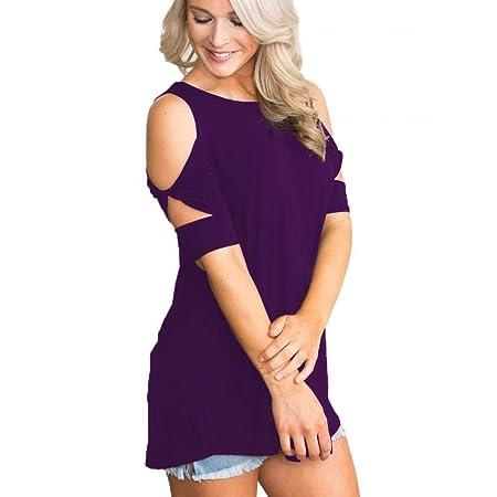 Caren Blusa Casual De Manga Corta De Encaje Fluido para Mujer Blusas De Verano Blusas Camiseta Básica (Color : Púrpura, Size : Medium): Amazon.es: Hogar