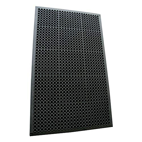 "Rubber-Cal 03_122_WBK 1/2-inch Dura Chef Anti-Slip Rubber Kitchen Mat, 1/2"" x 36"" x 60"", Black"