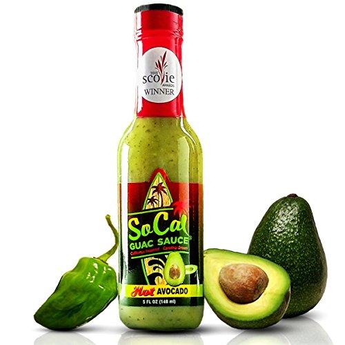 Hot Avocado SoCal Guac Sauce | A Guacamole Salsa Verde Hot Sauce | Real Avocados, Serrano Chiles and Green Habanero | California Taqueria Style Taco Sauce | 5 FL OZ (Hot Sauce Seasoning)