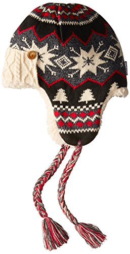 Muk Luks Women's Lodge Trapper Hat-Traditional Marled, Black, One Size