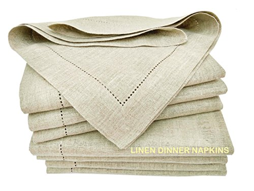 100% Pure Linen, Dinner Napkin with Hem Stitched 16x16 Inch Natural(Set of 12 Pack). Hemstitched Hand Made Ladder lace Look Napkins. One of Lifes Little Home Luxuries