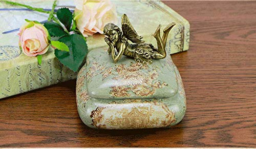 GYZS jewelry box Caja Decorativa Retro Europea Europea Europea Caja de joyería de cerámica Caja de Almacenamiento Decoración del hogar Estadounidense Caja de joyería Decoración (Color : Verde) 28bb0d