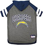 NFL LOS ANGELES CHARGERS HOODIE for DOGS & CATS. | NFL FOOTBALL licensed DOG HOODY Tee Shirt, Large | Sports HOODY T-Shirt for Pets | Licensed Sporty Dog Shirt.